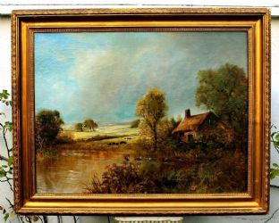 Large Edwardian Oil on Canvas - Lakeside Cottage, Indistinctly signed.